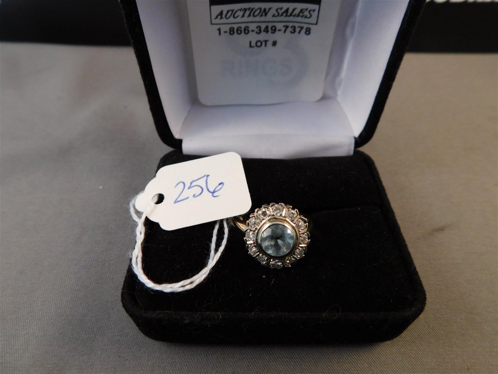 14K Blue Stone & Diamond Ring
