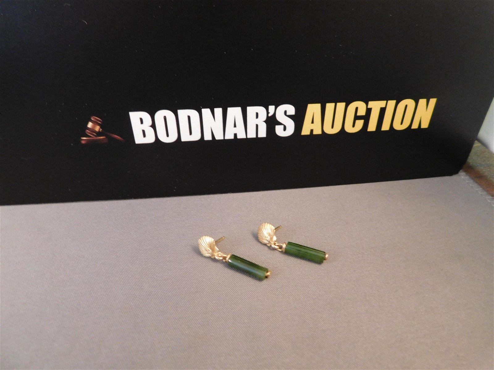 14K Gold & Jade Drop Earrings