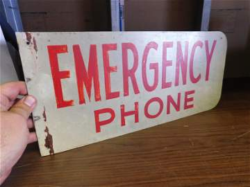 Vintage Emergency Phone Tin Double Sided Sign