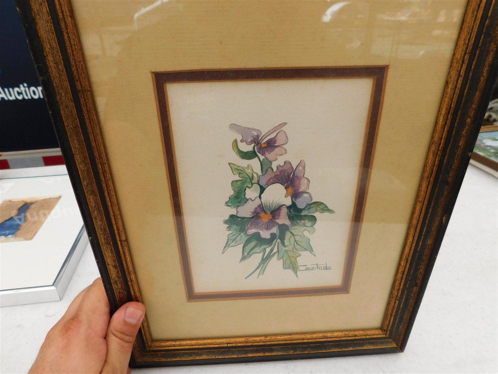 Framed Watercolor Still life Painting