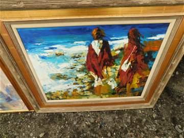 Oil on Canvas Abstract on the Beach