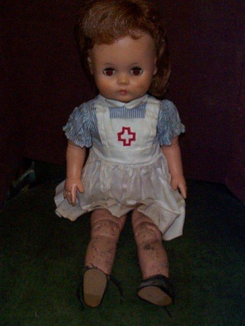 717: Vintage Rubber Nurse doll with sleepy eyes  Measur