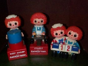 1970's Raggedy Ann And Andy Plastic Desk Set  Incl