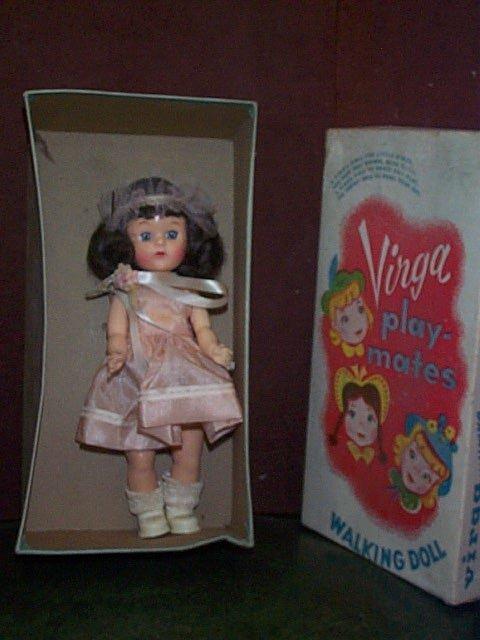 """863: Virga Playmates Walking Doll  Measures 8"""" with ori"""