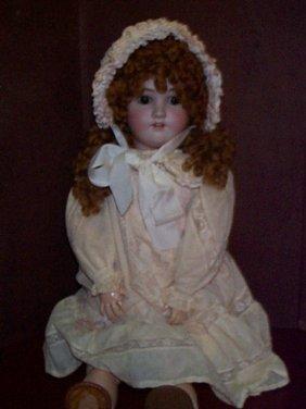 Antique Porcelain Head Doll With A Composition Joi