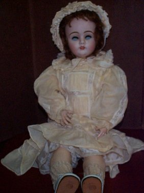 Antique Porcelain Head Doll With Jointed Compositi