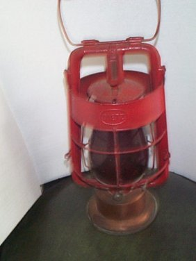 Unusual Dietz Hanging Lantern With A Copper Oil Ba