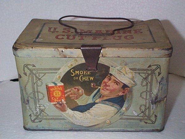 931: US Marine Cut Plug Smoke or Chew Tobacco tin box