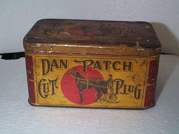 933: Vintage Tobacco Advertising tin  Dan Patch cut plu