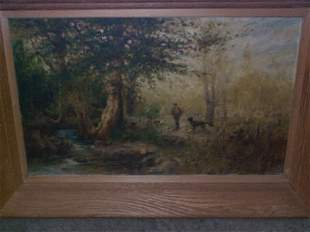 19th C. Oil on canvas Impressionist painting, sign
