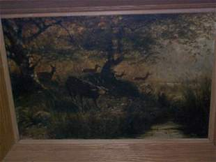 19th C. Oil on canvas Impressionist painting signe