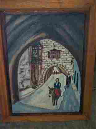 """Oil on board entitled """"The Old City"""", has label on"""