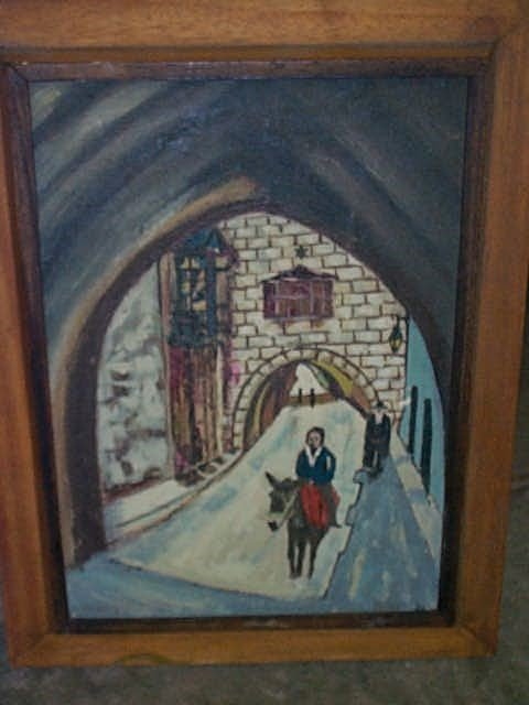 "305: Oil on board entitled ""The Old City"", has label on"