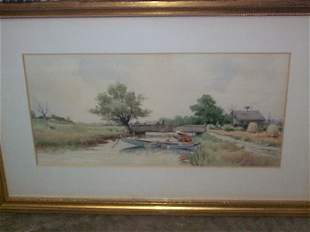 Watercolor signed F. Eisele, depicts a country cre