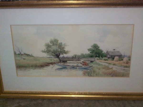 306: Watercolor signed F. Eisele, depicts a country cre