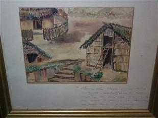 Watercolor, signed J.M. Gonzalez S., measures 5 3
