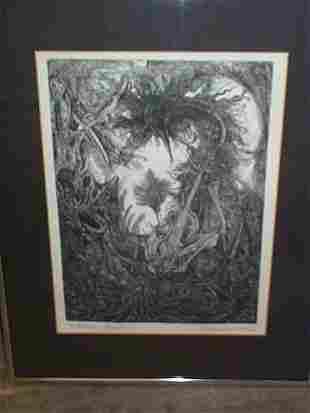Abstract lithograph, signed Bradley F. Kepashe, en