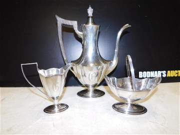 3 Piece Gorham Sterling Silver Tea Set Plymouth Pattern