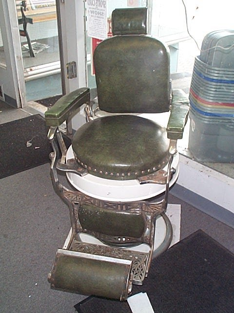 499: signed Koken 1950's Barber shop barber's chair in  - 2