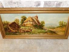 Oil on Canvas of European Cottage