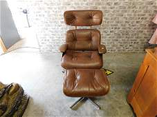 Eames Style Leather and Wood Lounge Chair with Ottoman