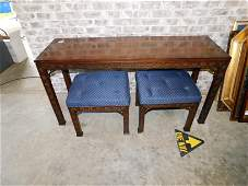 Kindle Block Chippendale Style Sofa Table with Pair of