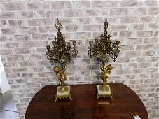 Pair of Bronze and Enamel Candelabras