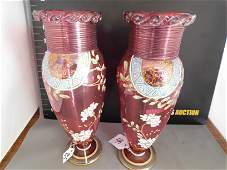 Pair of Victorian Cranberry Enamel Painted Vases