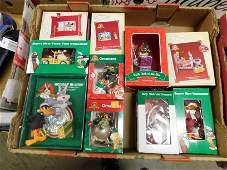 Box Lot of Looney Tunes and Hallmark Ornaments