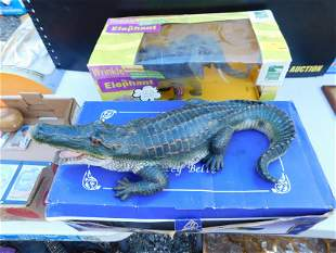 Lot with Resin Alligator and Elephant