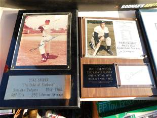 Lot of 2 Autographed Plaques of Joe DiMaggio and Duke