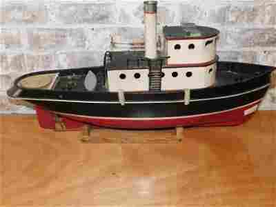 Vintage Tin and Metal Tugboat Model
