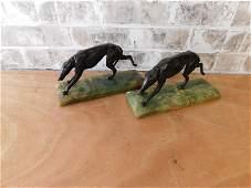 Pair of Bronze Greyhound Dog StatuesBookends