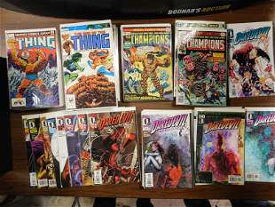 Short Box of Comics including The Thing, The Champions,