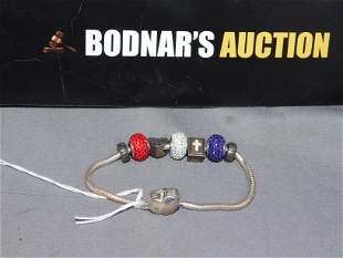 Sterling Slide Bracelet with Charms