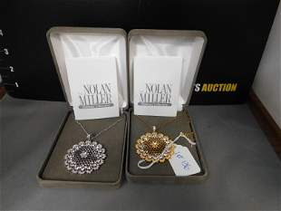 2 Nolan Miller Filigree Crystal Necklaces