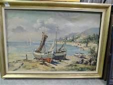 Oil on Canvas Inlet Scene