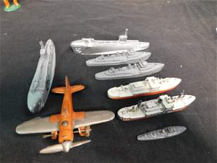 Lot of Diecast Boats, Submarines and Airplane