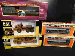 Group Lot of Norscot Caterpillar and Train Cars