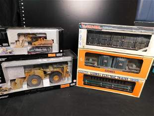 Group Lot of Norscot Caterpillar and Lionel Train Cars