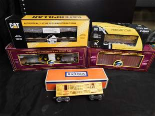 Group of 5 Train Cars including MTH and K-Line
