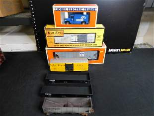 Lot of 6 Train Cars and Motorized Vehicle