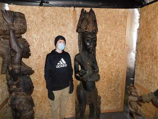 Monumental hand carved African statue