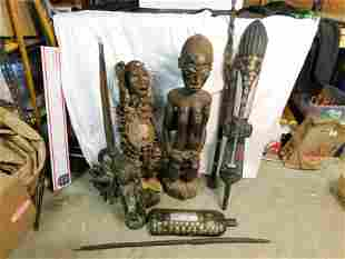Group Lot of 7 AS-IS African Statues and Decorative
