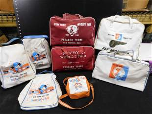 1964 New York World's Fair Tour Bags - Grouping of 8