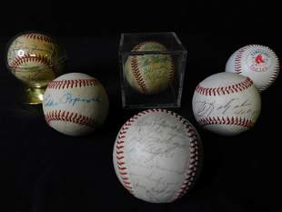 Group Lot of 6 Red Sox Baseballs - Many Autographs