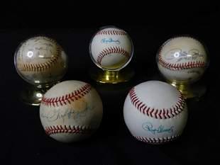 Group Lot of 5 Autographed Baseballs - Ken Griffey Jr,