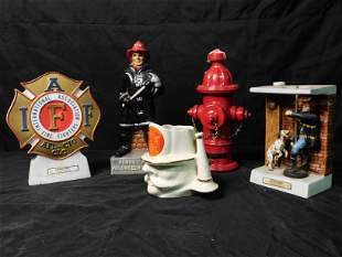 Group Lot of Fireman Related Decanters