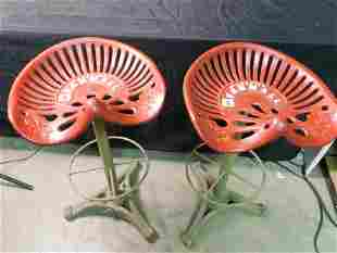 Pair of Cast Iron Contemporary Tractor Seat Stools
