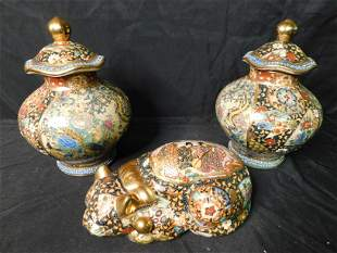 Box Lot of Satsuma Style Ginger Jars and a Cat Figurine